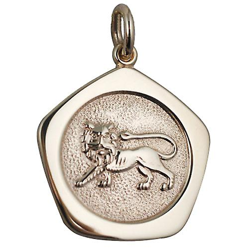 9ct Gold 21mm five sided Leo Zodiac Pendant