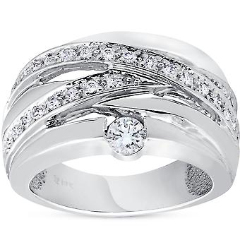 3/4 ct Diamond Womens Wide Solitaire Right Hand Ring 14k White Gold Multirow