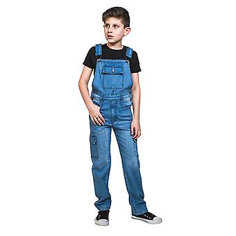 USKEES Kids Palewash Denim Dungarees Age 4-14 Boys Girls Cargo Overalls