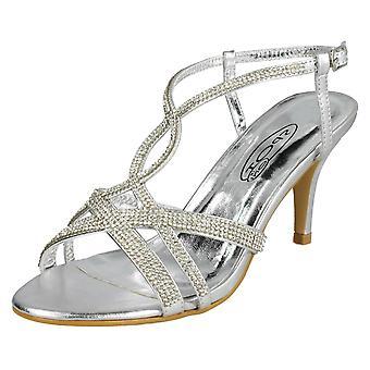 Kære plet på Diamante sandaler F10838 - sølv syntetisk - UK størrelse 7 - EU størrelse 40 - US størrelse 9
