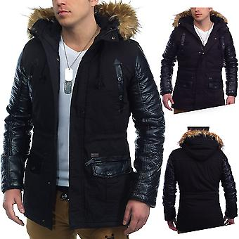 Men Parka Mildford winter jacket faux leather sleeves gefütter detachable hood