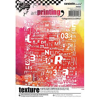 Carabelle Studio Art Printing A6 Rubber Texture Plate-Letters & Numbers Collage