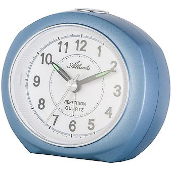 Atlanta 1593/5 alarm clock quartz analog blue quietly without ticking with light Snooze