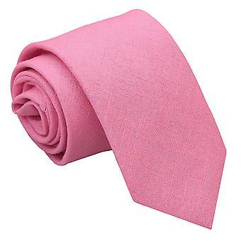 Carnation Pink Hopsack Linen Slim Tie