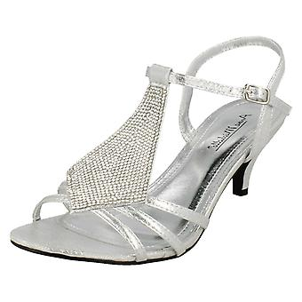 Ladies Anne Michelle Mid Kitten Heel Diamante Sandals F10652