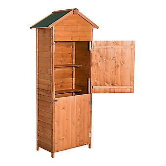 Outsunny Wooden Shed Timber Garden Storage Shed Outdoor Sheds - 190cm x 79cm x 49cm Roof Tool Cabinet Lockable Door