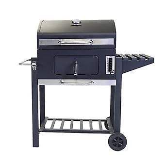 Charles Bentley American Large Grill Charcoal BBQ with 60 x 45cm cooking area - Portable inc Wheels