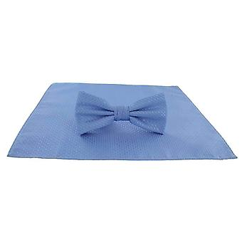 Michelsons of London Semi Plain Bow Tie and Pocket Square Set - Ice Blue
