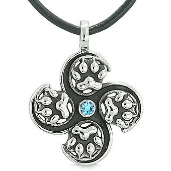 Supernatural Wild Wolf Paw All Forces of Nature Powers Amulet Sky Blue Crystal Pendant Necklace