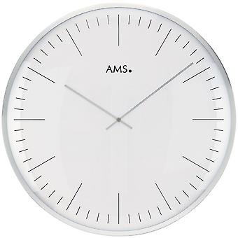 Wall clock quartz analogue white silver round metal frame ø 40 cm