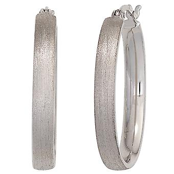 Hoops rhodium plated oval 925 Sterling Silver earrings silver oval mat