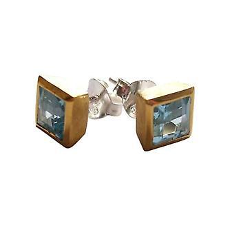 Örhängen Sterling Silver Blue Topaz CRISTA blå Topas örhängen silver & guld-talrik