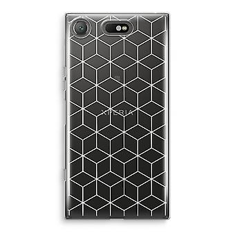 Sony Xperia XZ1 Compact Transparant Case (Soft) - Cubes black and white