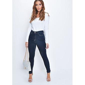 High Waisted Slit Detail Skinny Denim Jeans Indigo Blue