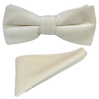 Luxury Ivory Velvet Bow Tie & Pocket Square Set