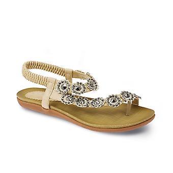 Comfy Summer Casual Ladies Diamante Fleur Sandales femmes Chaussures Strapped