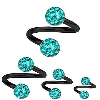Spiral Twist Piercing Black Titanium 1,2mm, Multi Crystal Ball Aquamarine | 6-12