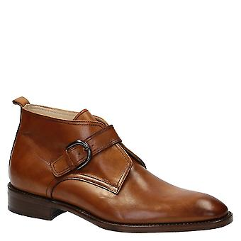 Handmade single monk strap ankle boots in tan leather