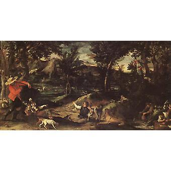 Hunting,Annibale Carracci,80x40cm