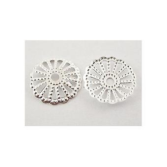 حزمة 100 + نغمة الفضة الحديد زهرة حبة قبعات 13 مم HA12500