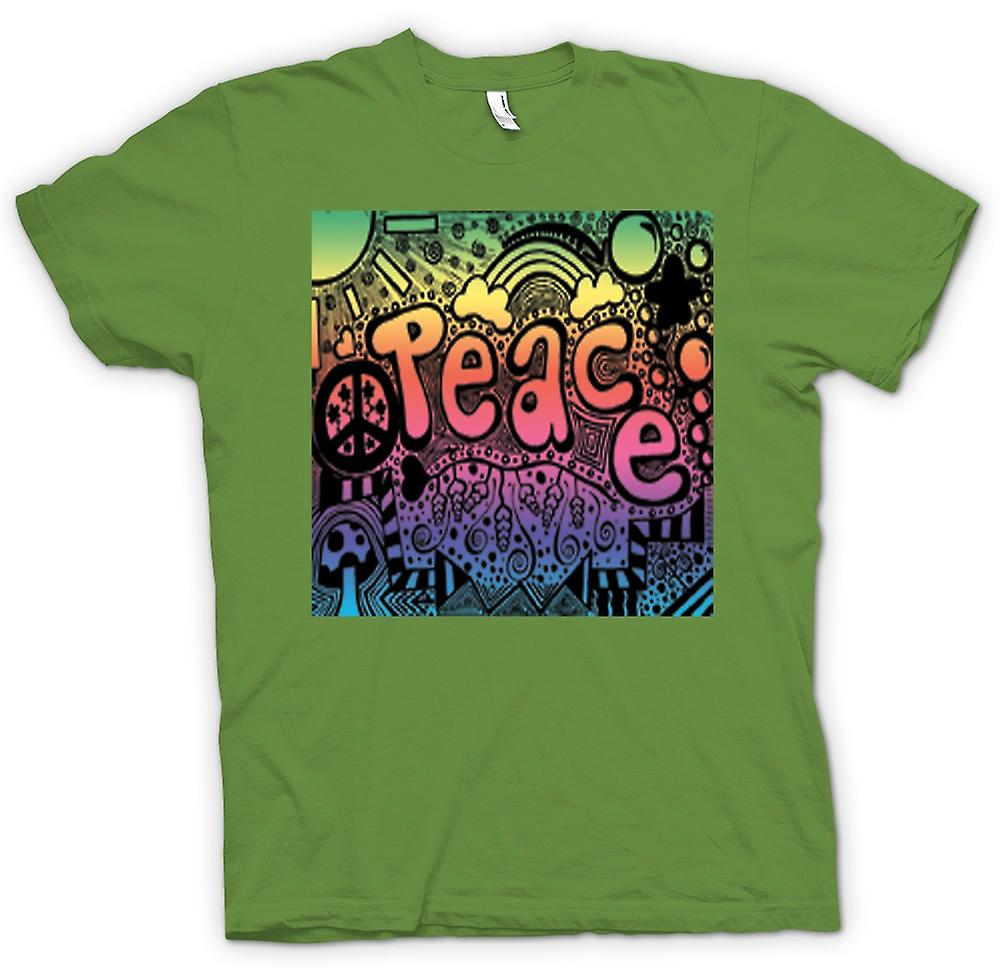 Mens T-shirt-Peace Hippie-Psychedelic-Design