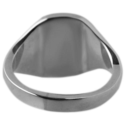 Platinum 950 12x10mm solid plain cushion Signet Ring Size S