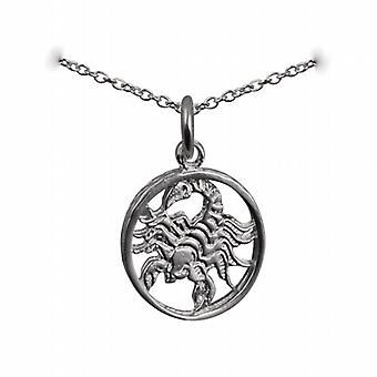 Silver 11mm pierced Scorpio Zodiac Pendant with a rolo Chain 14 inches Only Suitable for Children