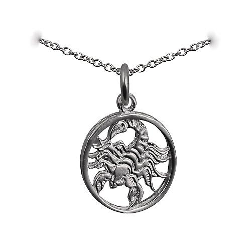 Silver 11mm pierced Scorpio Zodiac Pendant with a rolo Chain 16 inches Only Suitable for Children