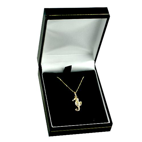 9ct Gold 17x9mm Sea Horse with a curb Chain 16 inches Only Suitable for Children