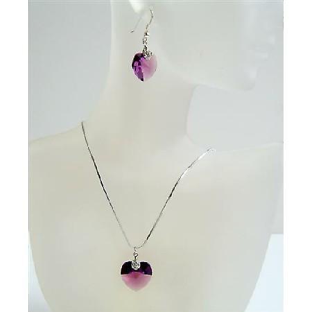 Amethyst Xilion Heart Pendant Swarovski Crystals Heart Jewelry Set