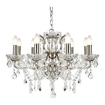 Plata satinada de París y luz lámpara de araña de cristal ocho - reflector 8738-8SS