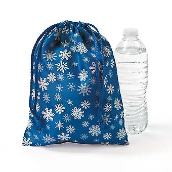 12 Snowflake Print Fabric Drawstring Christmas Party Bags
