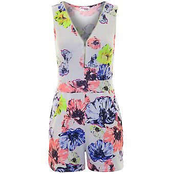 Ladies Sleeveless Reißverschluss vorn mit V-Ausschnitt Floral Plissee Crepe All In One Body Playsuit