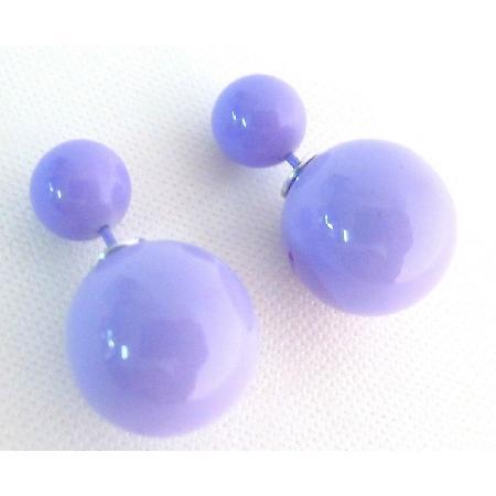 Double Sided Earrings In Gorgeous Stunning Purple Bubble Bead Earring