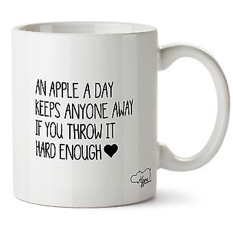 Hippowarehouse An Apple A Day Keeps jemand entfernt wenn Sie es hart genug werfen gedruckt Mug Tasse Keramik 10 oz