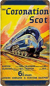 LMS Coronation Scot rusted metal sign      (pst 148 pt)
