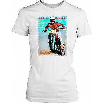 Steve Mcqueen på en motorcykel - Hollywood ikon damer T Shirt