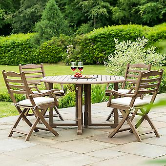 Alexander Rose Sherwood 4-Seater Round Dining Set with Folding Chairs
