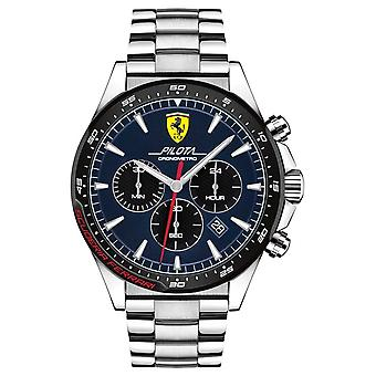 Scuderia Ferrari | Men's Pilota | Stainless Steel Bracelet | Blue Dial | 0830598 Watch