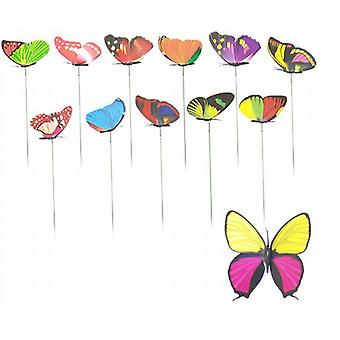 Garden/Plant Pot Double Wing Butterfly On Stick - Set Of 12 Assorted - (SC9442)