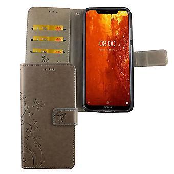 Nokia 8.1 / Nokia X 7 mobiele telefoon geval beschermende zak cover Flip case compartiment grijs