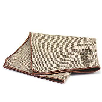 Brown & khaki thick tweed look wool pocket square