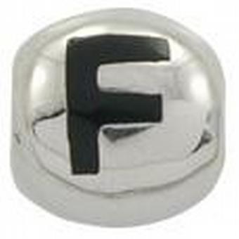 TOC BEADZ 925 Silver Initial F 9mm Slide-on Bead