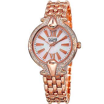 Burgi Women's Quartz Swarovski Crystal Easy-to-Read Rose-Tone Bracelet Watch BUR163RG
