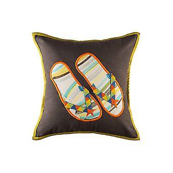Summer Handpainted Flip Flop Throw Pillow Cover