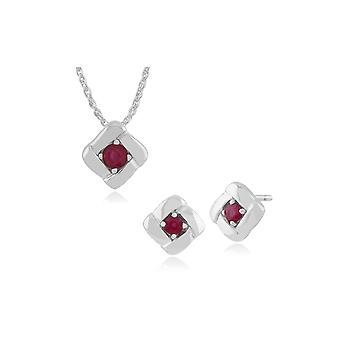 Gemondo Sterling Silver Ruby Square Crossover Stud Earring & 45cm Necklace Set