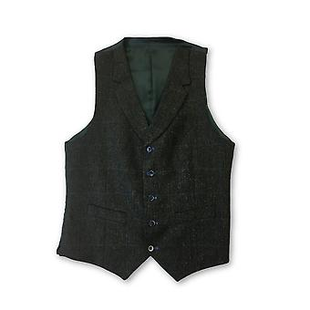 Santinelli waistcoat in green tweed with blue check