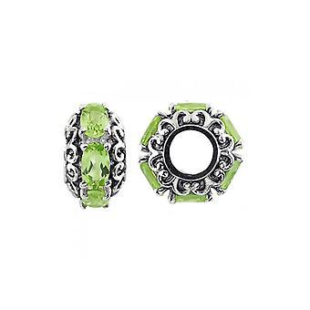 Storywheels Oxidised Silver & Peridot Charm S482P