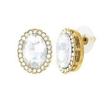 Eternal Collection Countess Oval Clear Crystal Gold Tone Stud Pierced Earrings