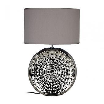 Premier hem Vinn bordslampa, keramik, linne, silver